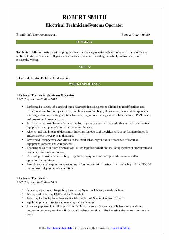 electrical technician resume samples