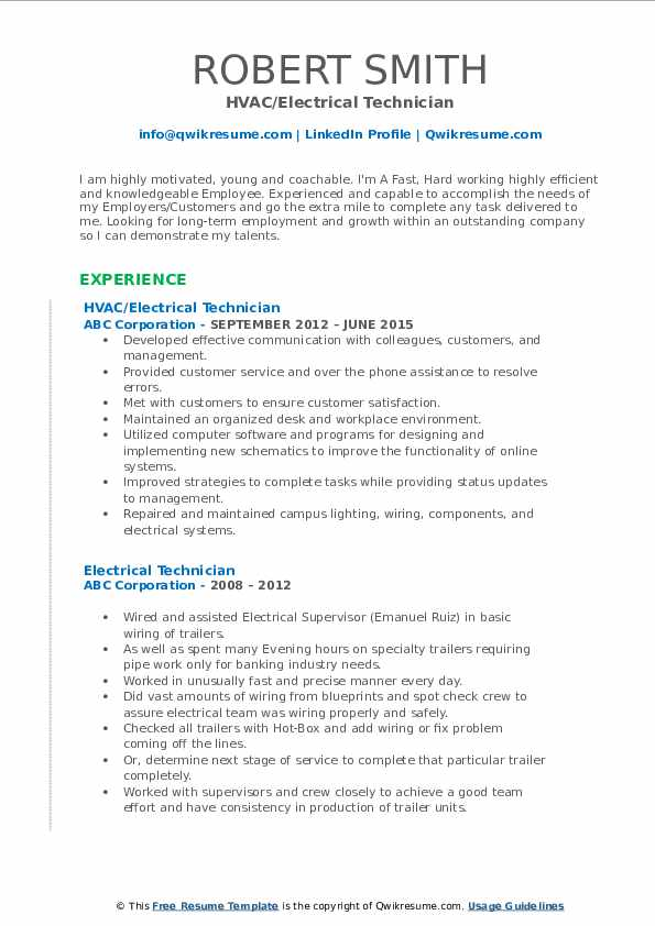 HVAC/Electrical Technician Resume Example