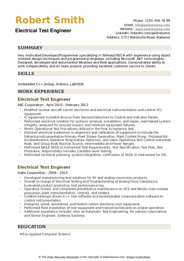 Electrical Test Engineer Resume example