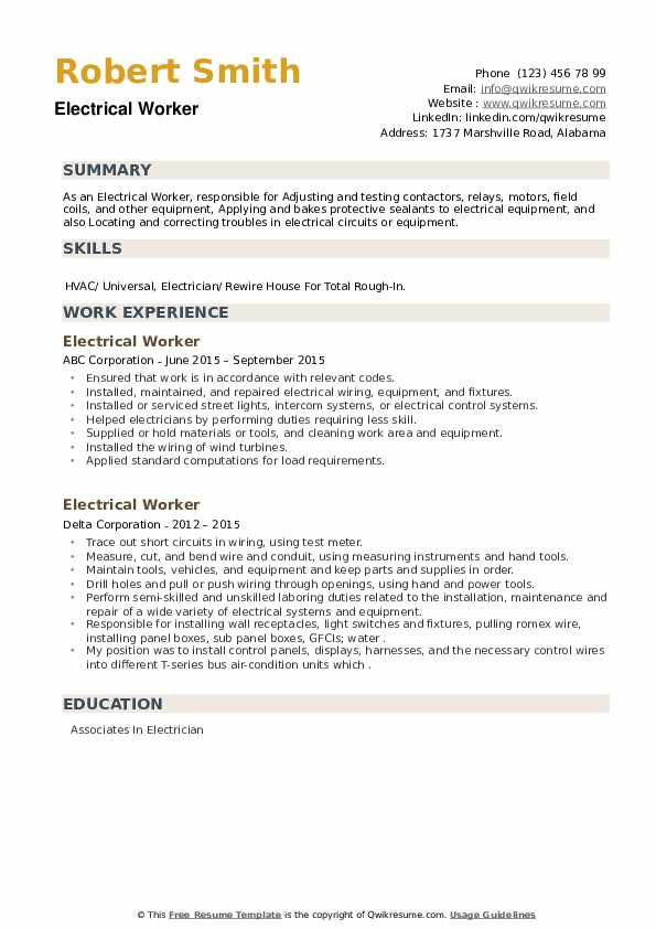 Electrical Worker Resume example