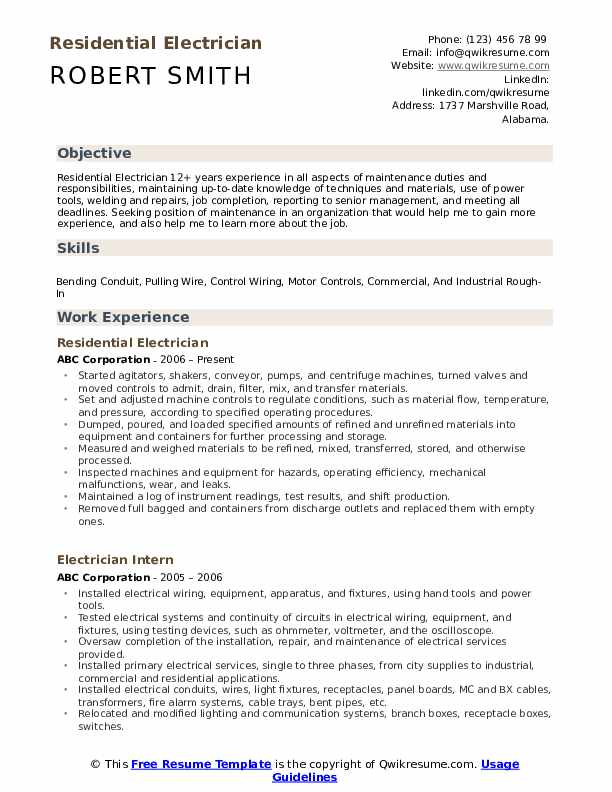 Residential Electrician Resume Model