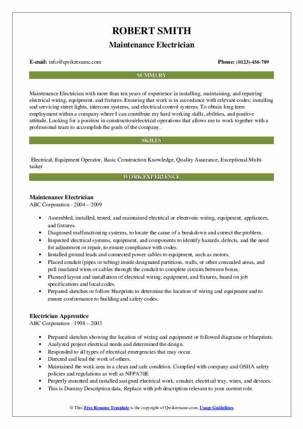 Maintenance Electrician Resume Format
