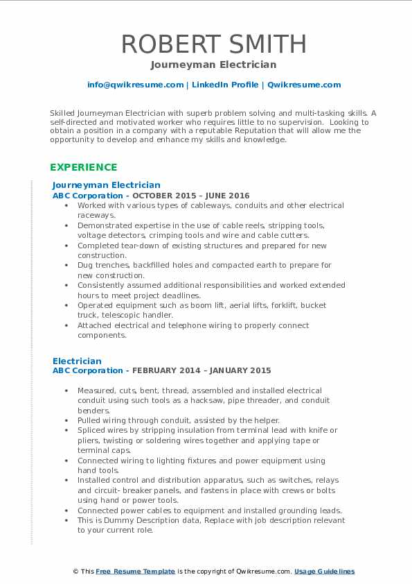 Journeyman Electrician Resume Model
