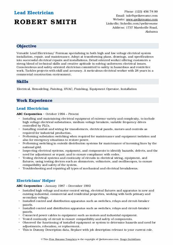 Lead Electrician Resume Sample