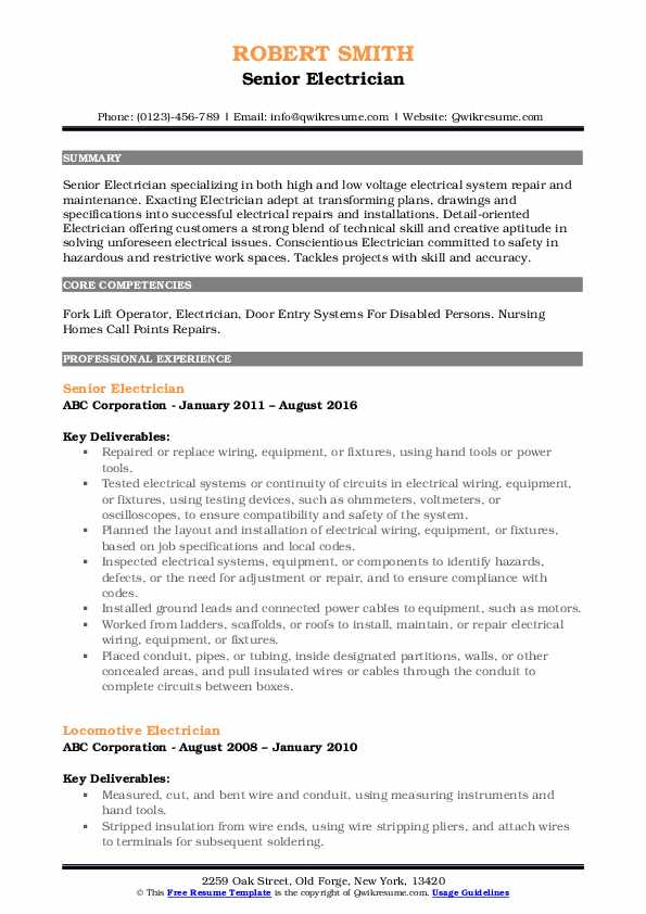 Senior Electrician Resume Template