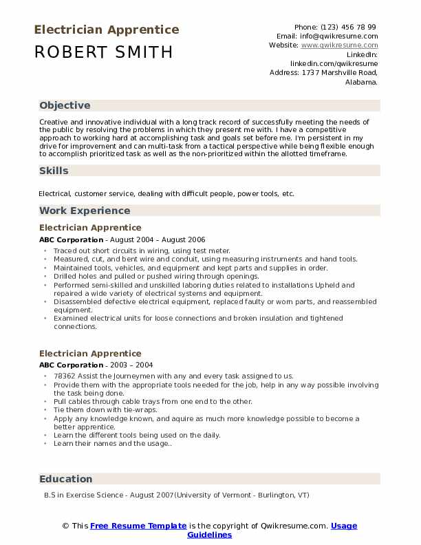 Electrician Apprentice Resume Samples Qwikresume