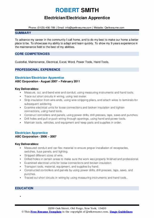 Electrician/Electrician Apprentice Resume Template