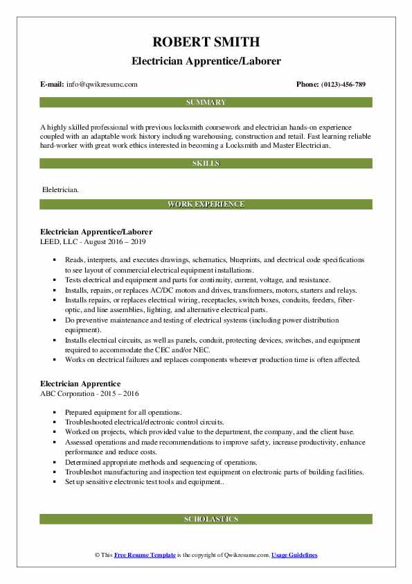 Electrician Apprentice/Laborer Resume Model