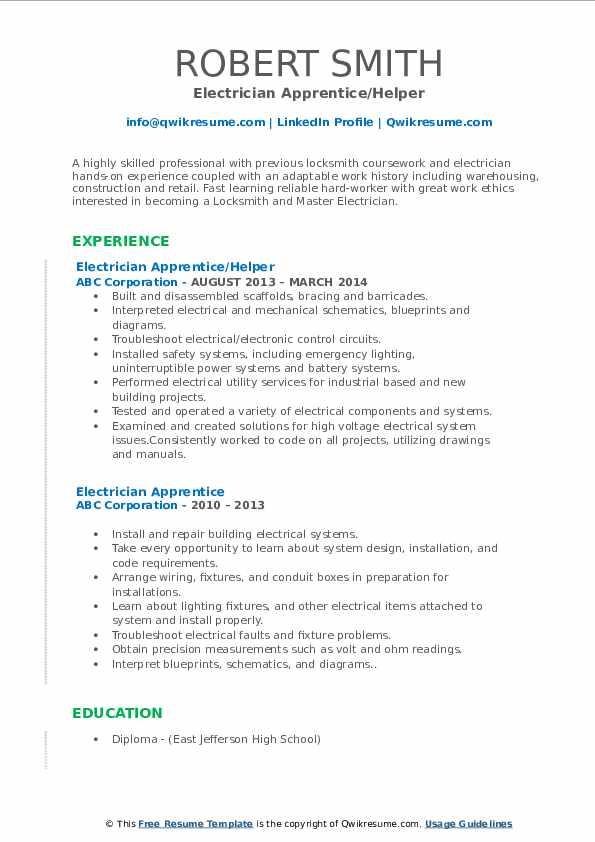 Electrician Apprentice/Helper Resume Example