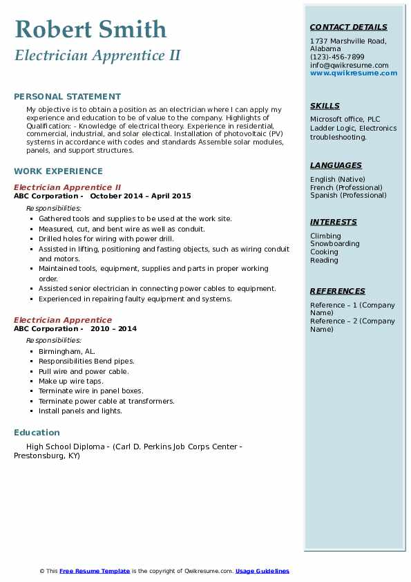 Electrician Apprentice II Resume Sample