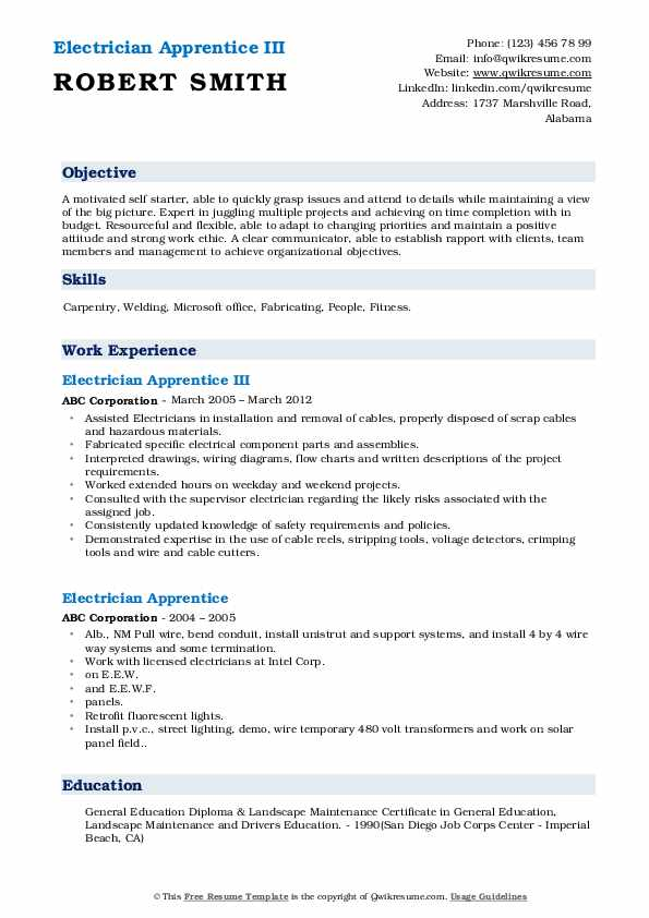 Electrician Apprentice III Resume Model