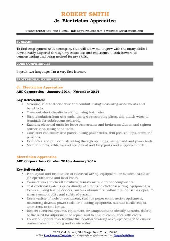 Jr. Electrician Apprentice Resume Format