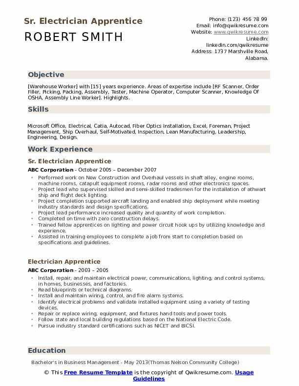 Sr. Electrician Apprentice Resume Format