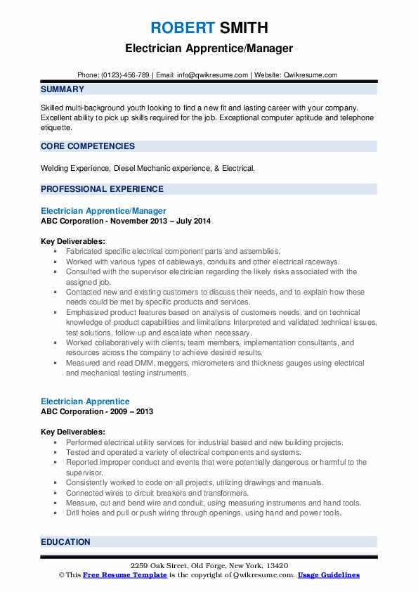 Electrician Apprentice/Manager Resume Example