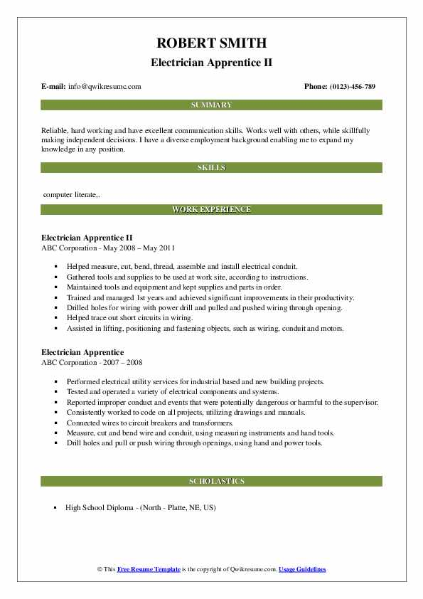 Electrician Apprentice II Resume Model
