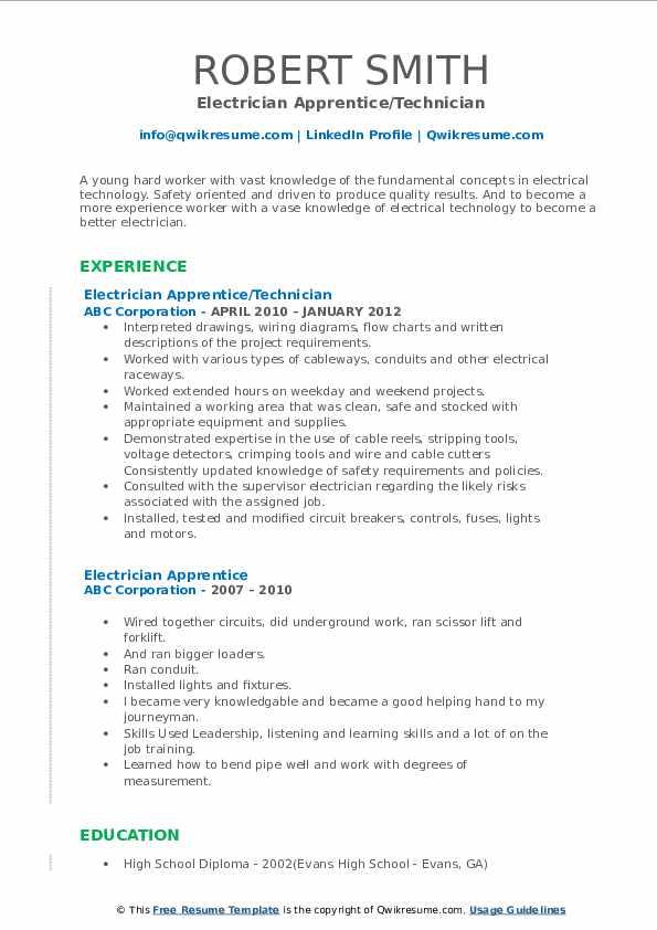 Electrician Apprentice/Technician Resume Template
