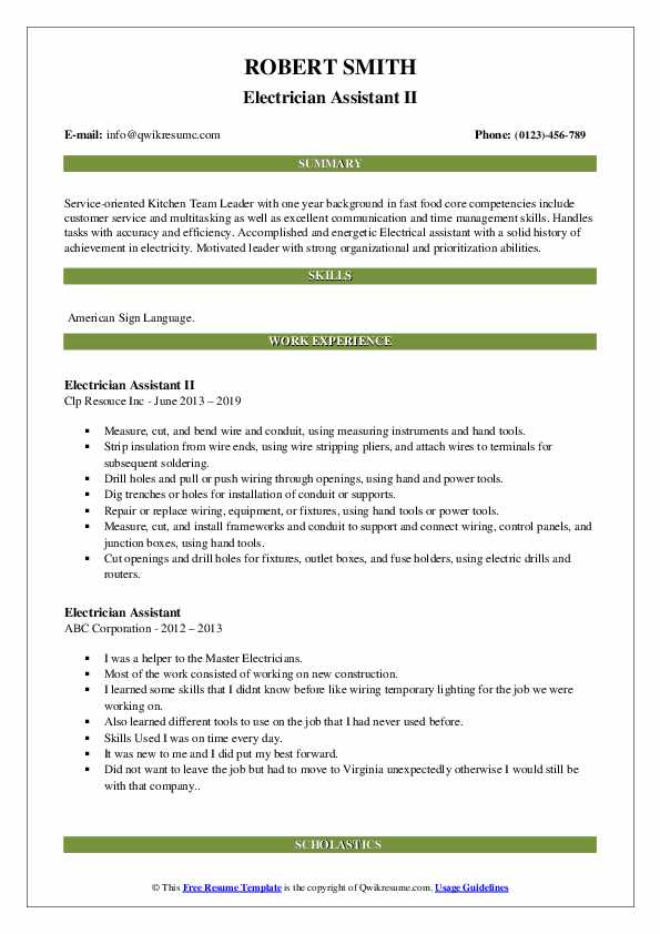 Electrician Assistant II Resume Example