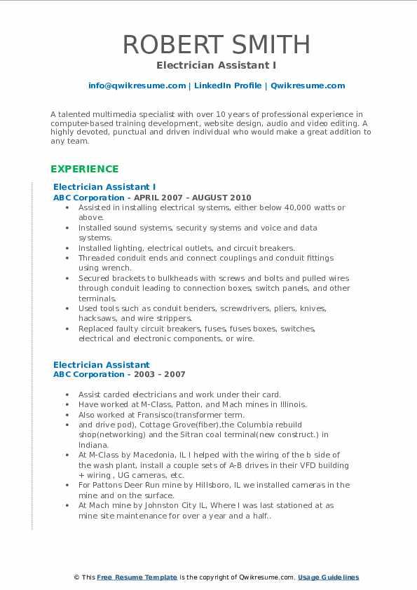 Electrician Assistant I Resume Model