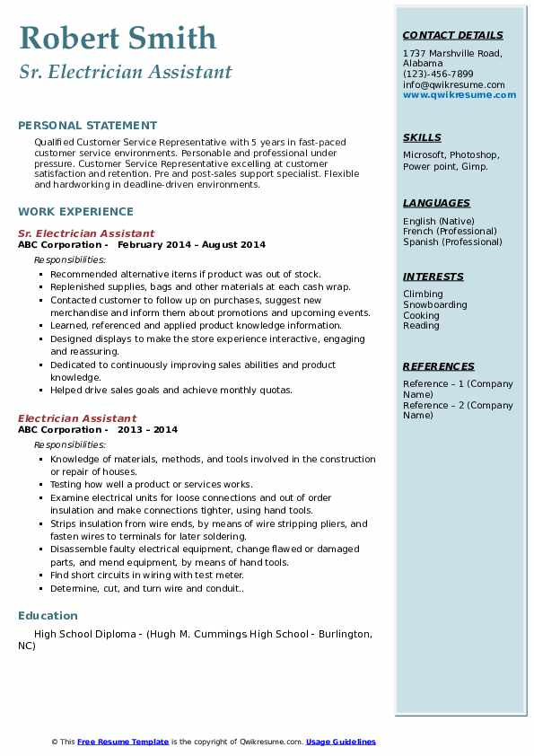 Sr. Electrician Assistant  Resume Example