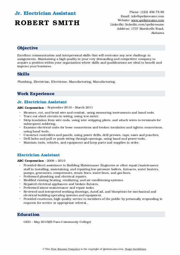 Jr. Electrician Assistant Resume Example