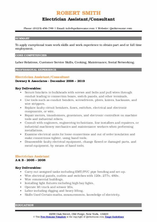 Electrician Assistant/Consultant Resume Format