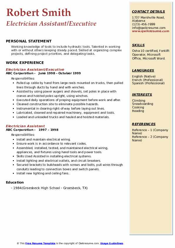 Electrician Assistant/Executive Resume Sample