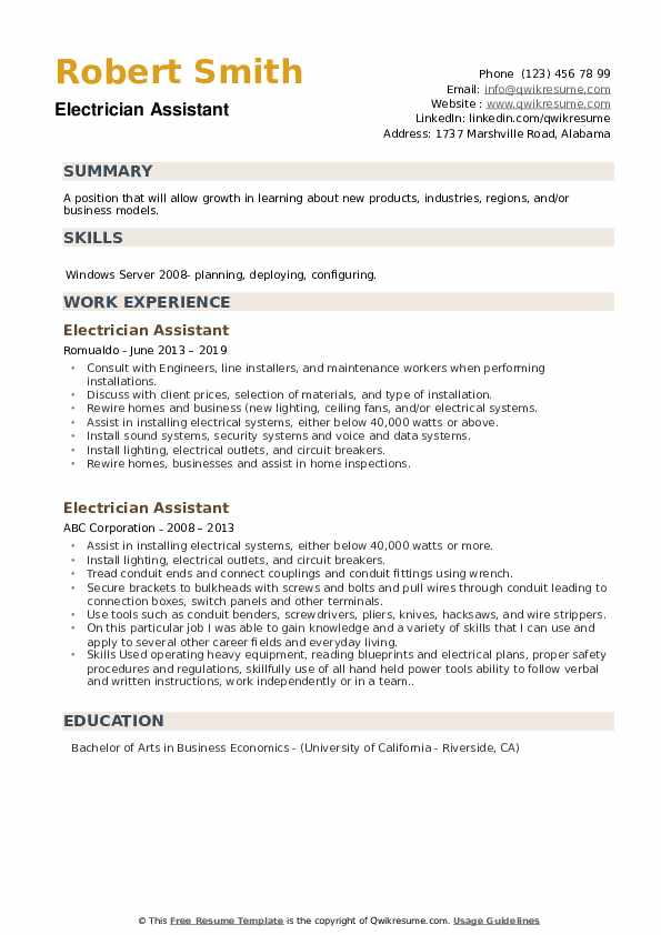 Electrician Assistant Resume example