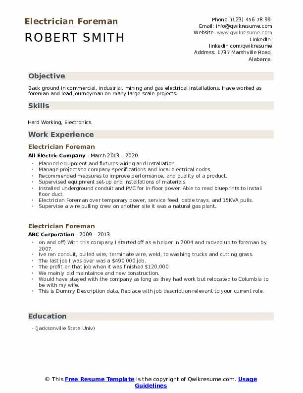 Electrician Foreman Resume example