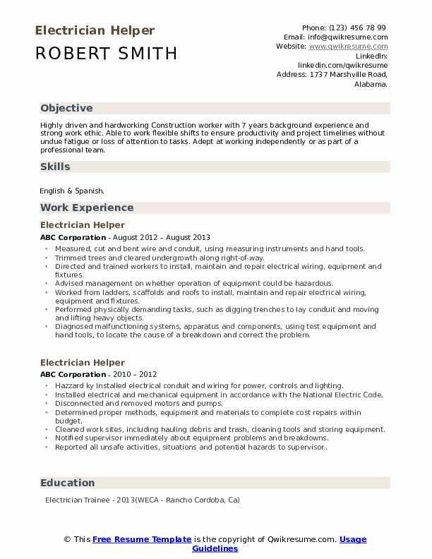 Electrician Helper Resume Sample