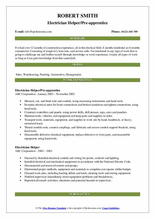 Electrician Helper/Pre-apprentice Resume Example