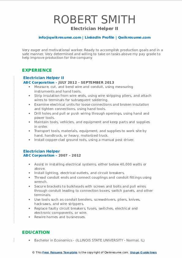 Electrician Helper II Resume Format
