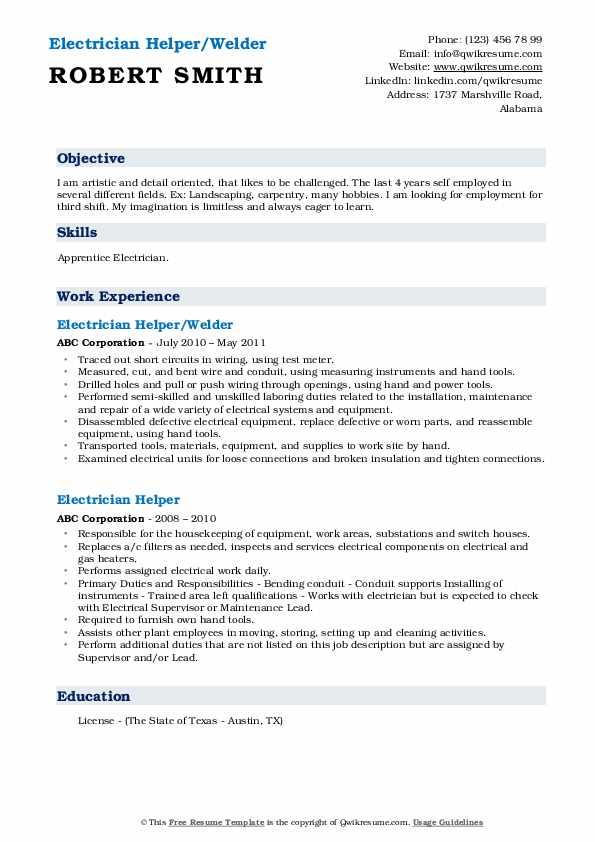 Electrician Helper/Welder Resume Format
