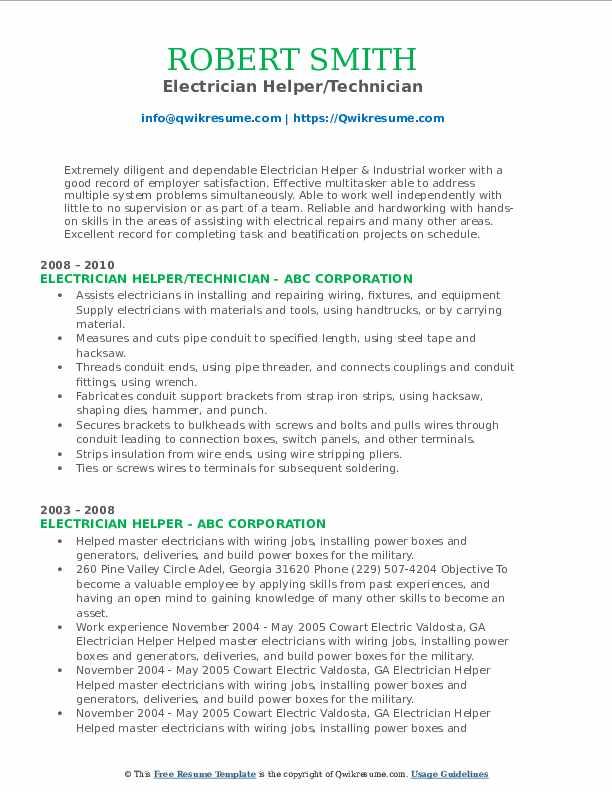 Electrician Helper/Technician Resume Example