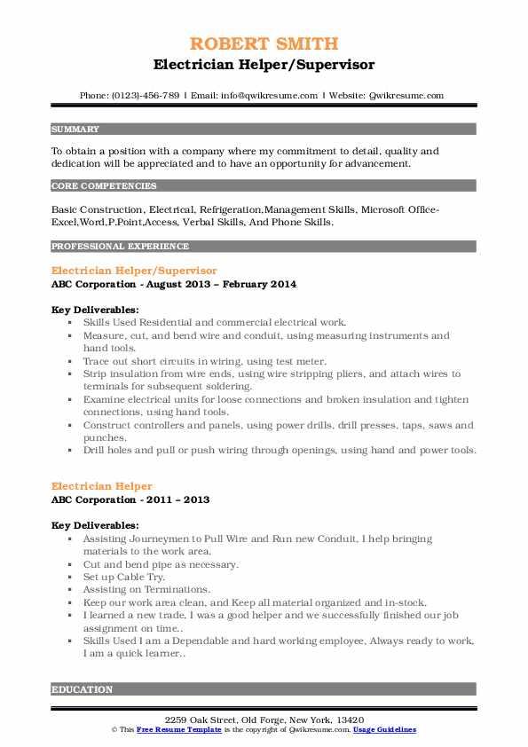 Electrician Helper/Supervisor Resume Example
