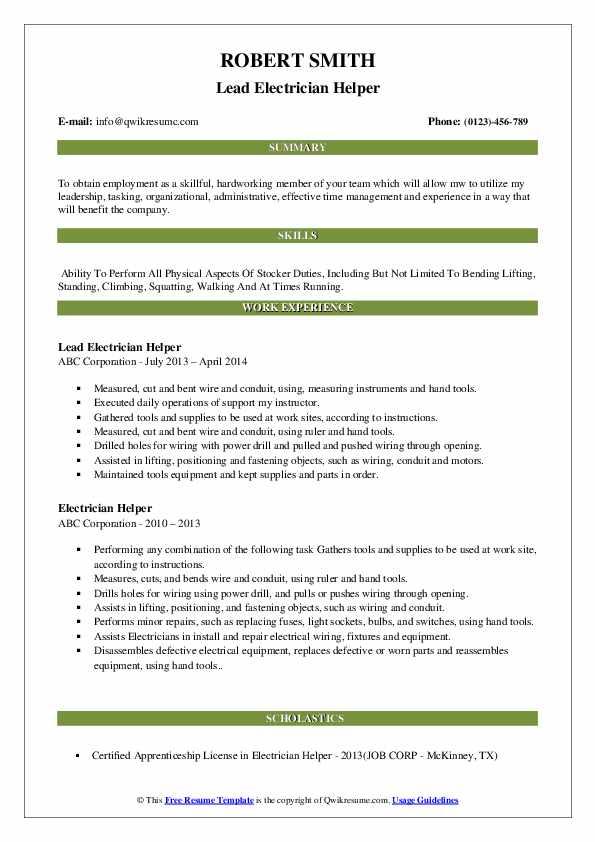 Lead Electrician Helper Resume Format