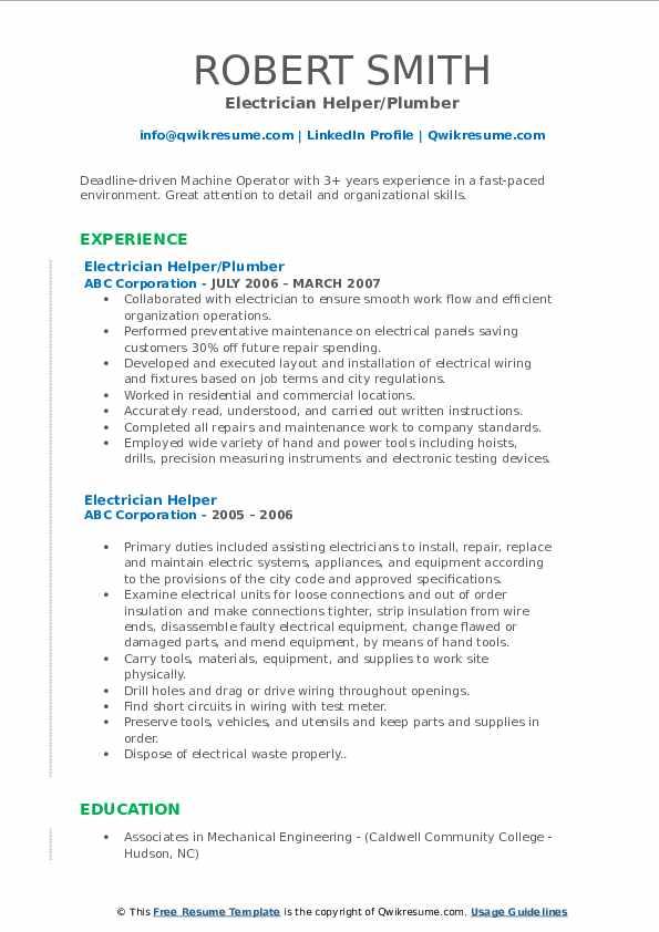 Electrician Helper/Plumber Resume Example