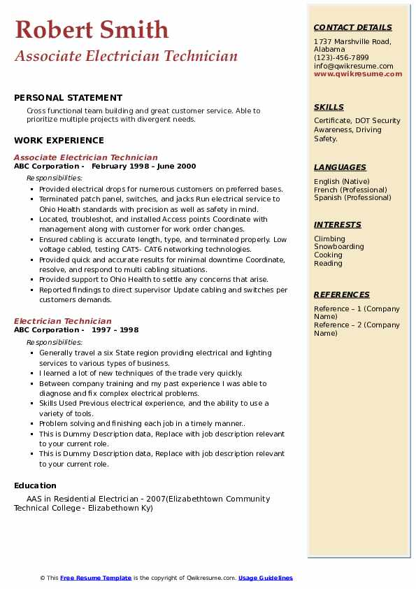 electrician technician resume samples  qwikresume