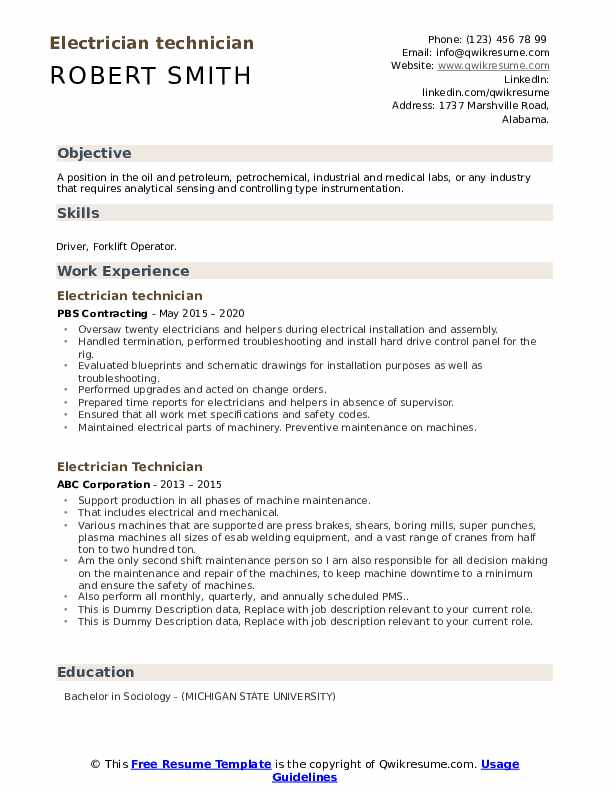 Electrician Technician Resume example