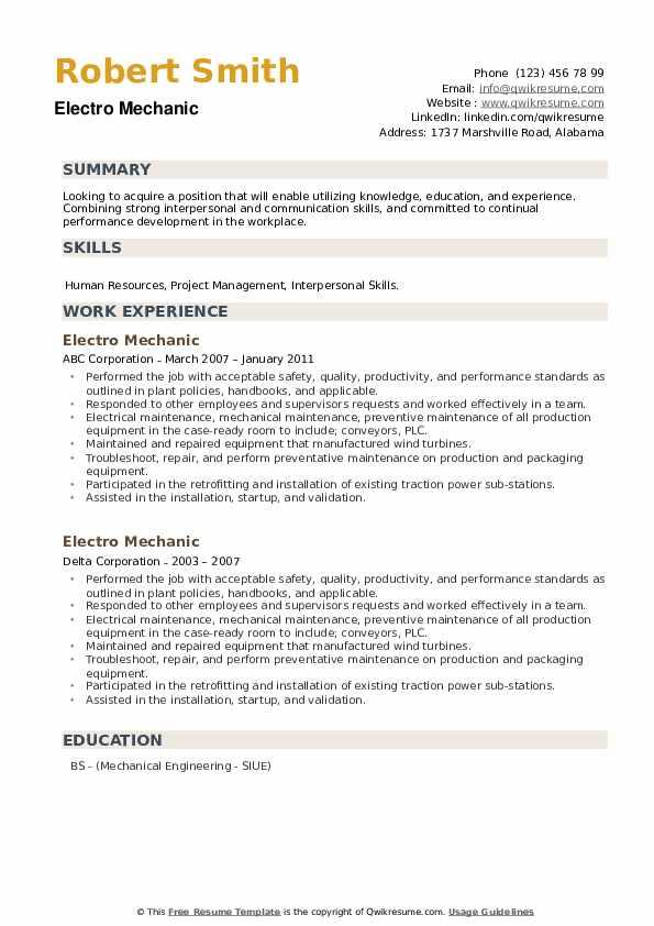 Electro Mechanic Resume example