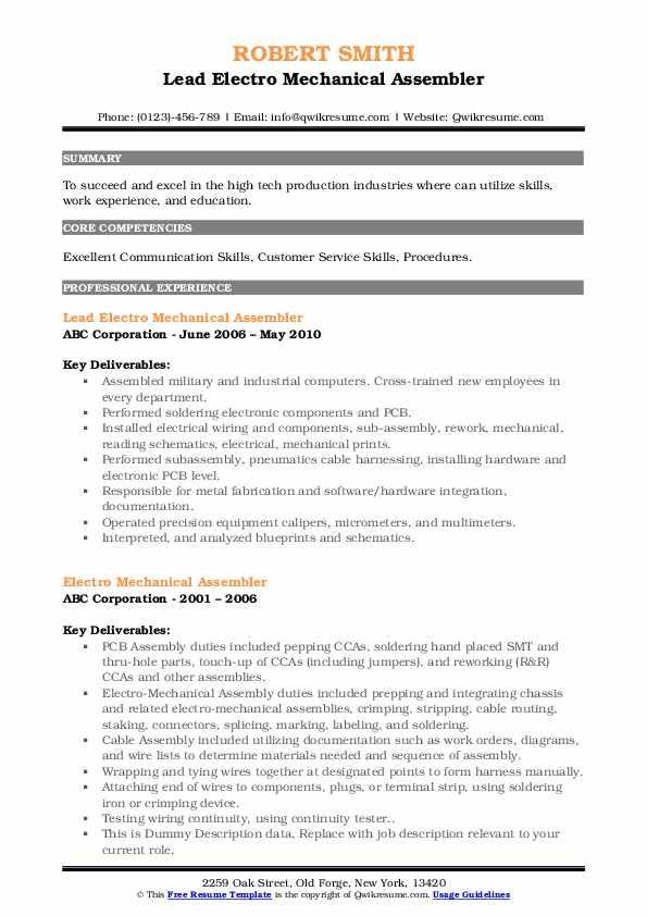 electro mechanical assembler resume samples