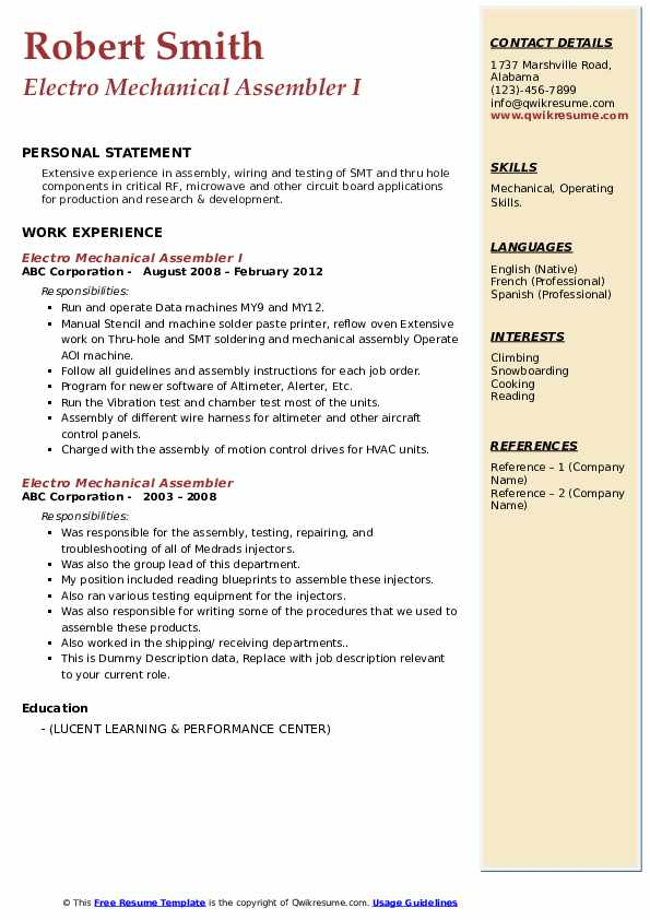 electro mechanical assembler resume samples