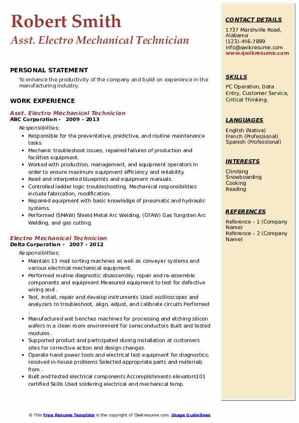 Electro Mechanical Technician Resume Samples | QwikResume
