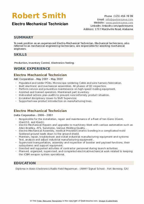 Electro Mechanical Technician Resume example