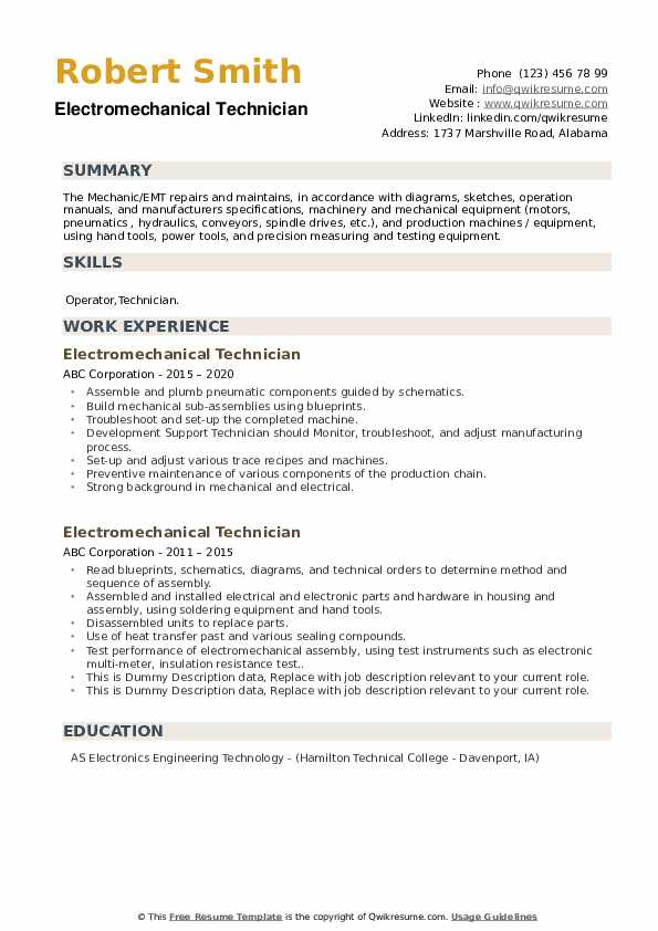 Electromechanical Technician Resume example