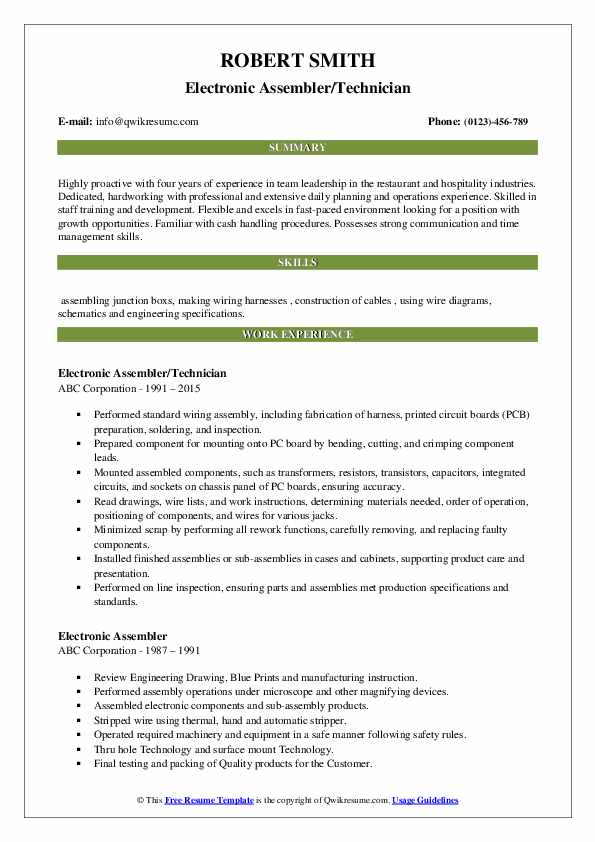electronic assembler/technician resume model
