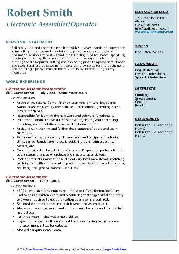 Electronic Assembler/Operator Resume Format