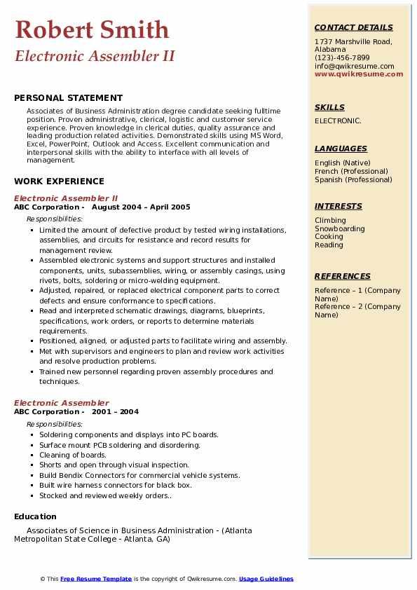 Electronic Assembler II Resume Sample