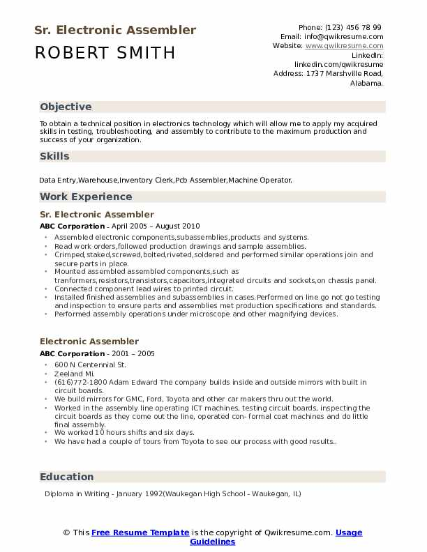 Electronic Assembler Resume Samples | QwikResume