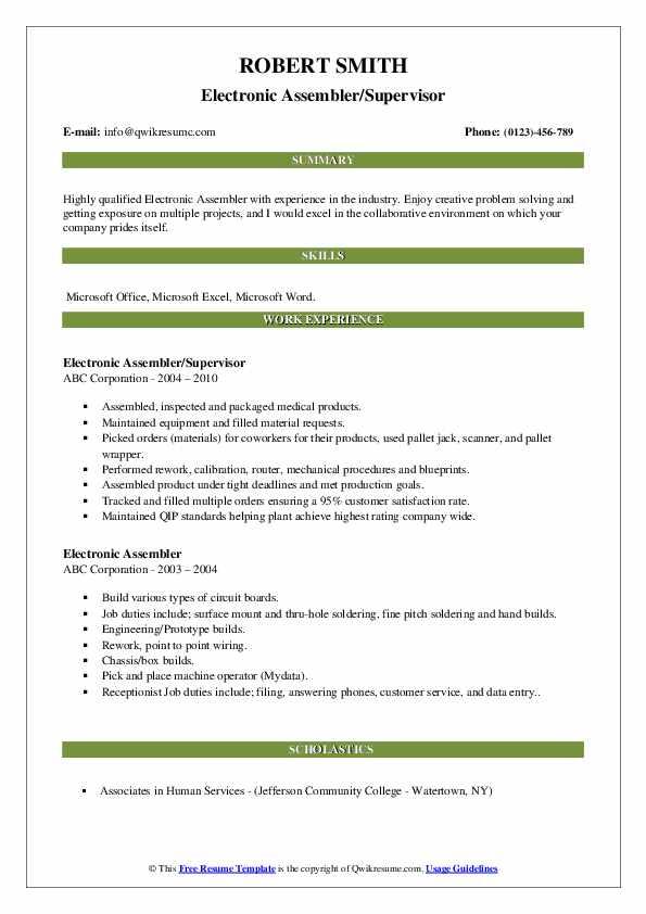Electronic Assembler/Supervisor Resume Example