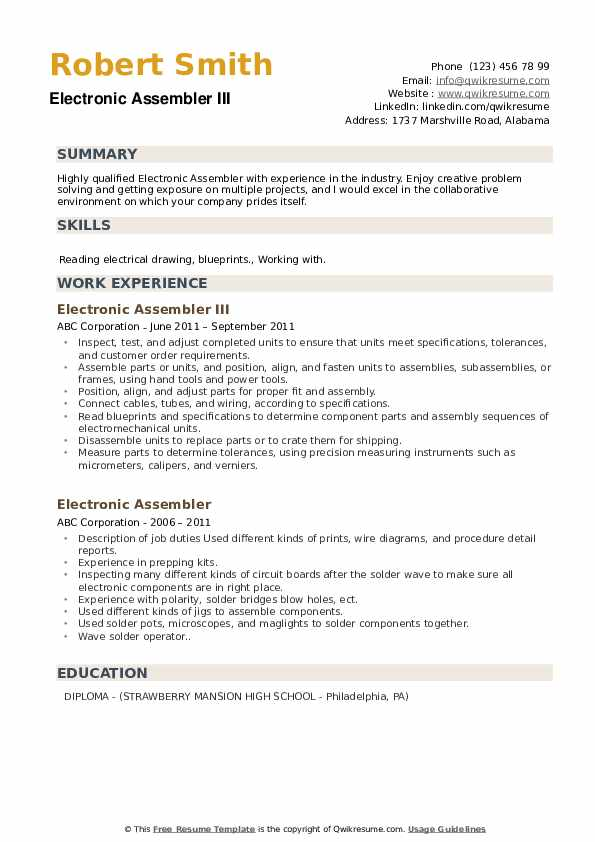 Concrete Worker I Resume Template